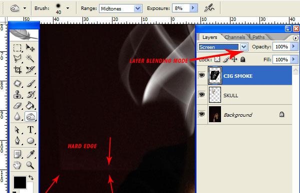 """Đổi """"CIG_SMOKE"""" Layer Blending Mode thành Screen"""