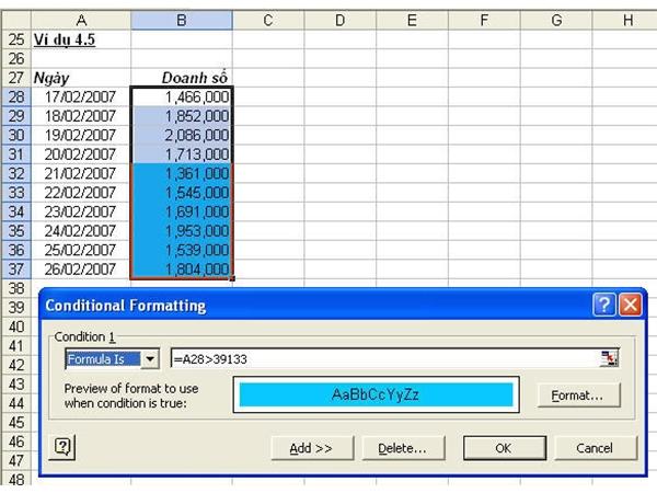Định dạng theo điều kiện (Conditional Formatting) trong Excel 2010 8