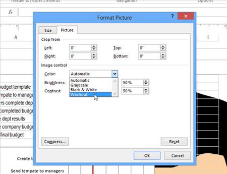 Cách chèn watermark (chữ, logo chìm) vào Microsoft Excel 2013