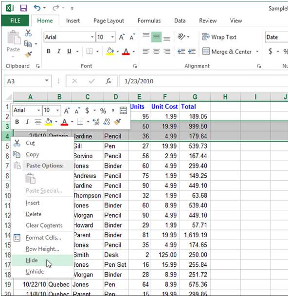 Làm thế nào để tạm thời ẩn hàng, cột trong Excel 2013?