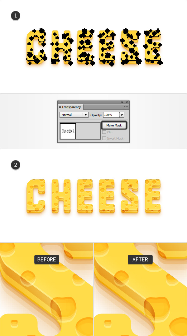 Tạo hiệu ứng chữ bằng pho mát chi tiết trong Adobe Illustrator