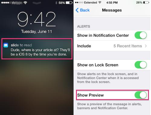Tắt ứng dụng xem trước nội dung tin nhắn