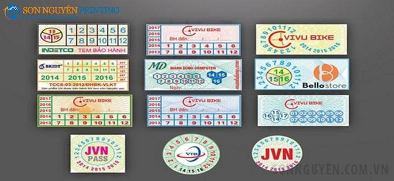 Các loại tem bảo hành giấy tại Xưởng in Sơn Nguyên