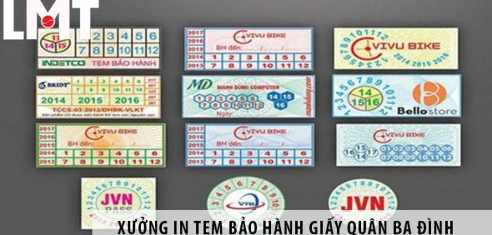 Xưởng in tem bảo hành giấy giá rẻ tại Quận Ba Đình