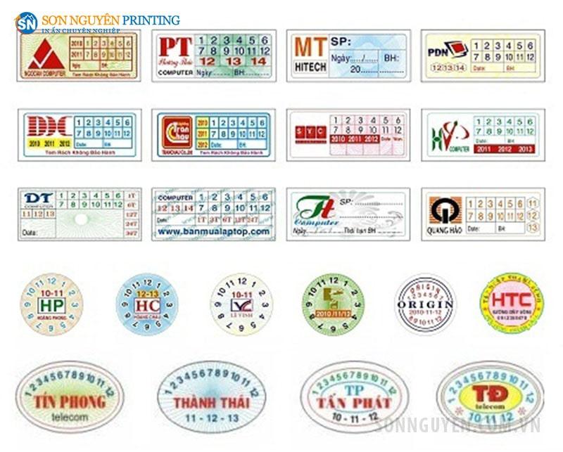 Các mẫu tem bảo hành giấy tại xưởng in Sơn Nguyên