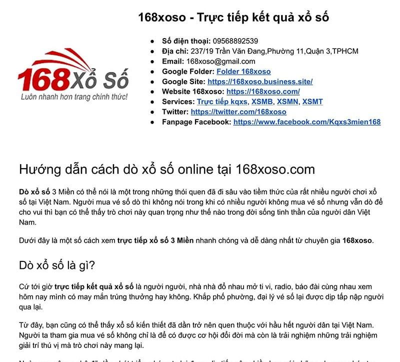 168xoso.com là trang soi KQXS Miền Bắc chuẩn xác nhất hiện nay